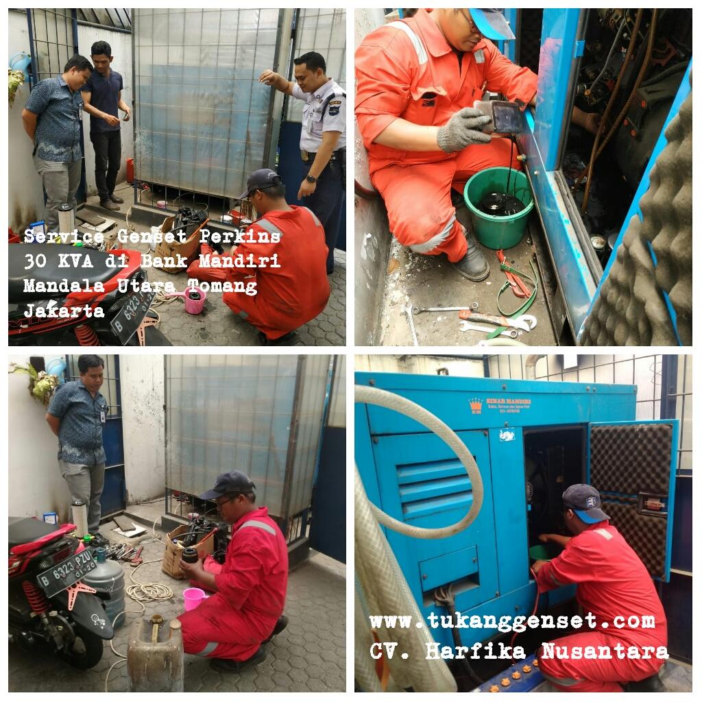 Service Genset Perkins 30 KVA di Bank Mandiri Mandala Utara Tomang Jakarta